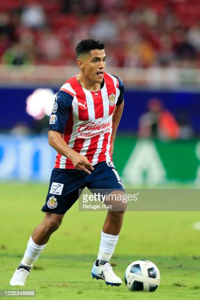Jesus Sanchez of Chivas drives the ball during the 9th round match between Chivas and Pachuca as part of the Torneo Grita Mexico A21 Liga MX at Akron...