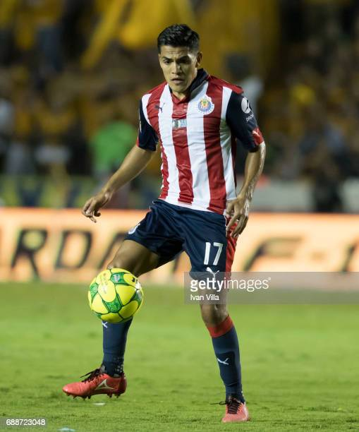 Jesus Sanchez of Chivas drives the ball during the Final first leg match between Tigres UANL and Chivas as part of the Torneo Clausura 2017 Liga MX...