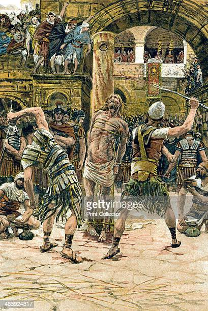 Jesus scourged on the face c1897 After his arrest during the week of his Passion leading up to the crucifixion Jesus was humiliated tried and...