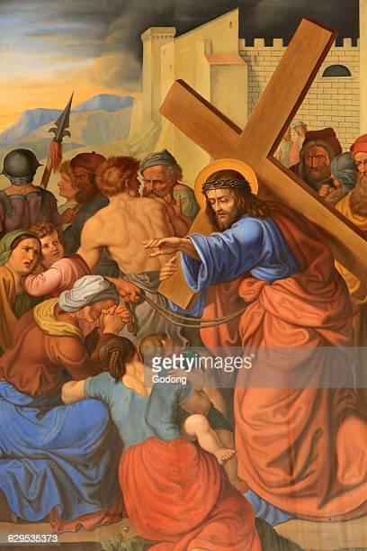 Jesus speaks to women. Maria am Gestade church .