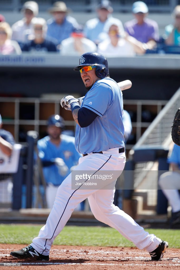 Jesus Sucre #45 of the Tampa Bay Rays reacts after being hit by a pitch in the second inning of a Grapefruit League spring training game against the Philadelphia Phillies at Charlotte Sports Park on March 1, 2017 in Port Charlotte, Florida. The game ended in a 5-5 tie.