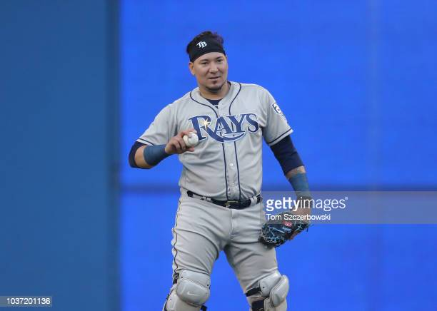 Jesus Sucre of the Tampa Bay Rays warms up before the start of MLB game action against the Toronto Blue Jays at Rogers Centre on September 4 2018 in...