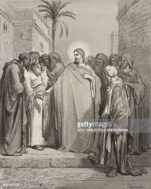 Jesus talks of the tribute money Jesus will pronounce the phrase Give to Caesar what is Caesar's and to God what is God's engraving by Gustave Dore...