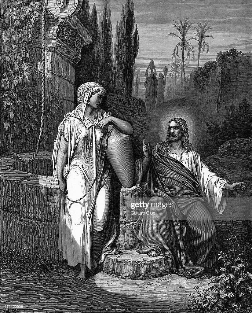 Jesus talks with the Samaritan woman : News Photo