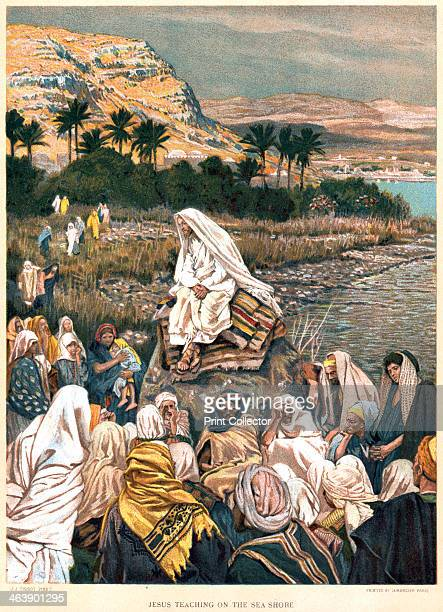 Jesus teaching on the sea shore c1890 Bible New Testament St Matthew Ch 12 From The Life of our Saviour Jesus Christ by JJ Tissot c1890