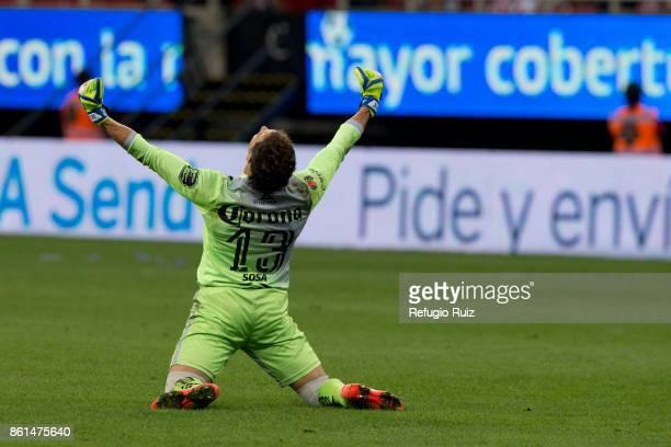 Jesus Urbina goalkeeper of Morelia celebrates during the 13th round match between Chivas and Morelia as part of the Torneo Apertura 2017 Liga MX at...