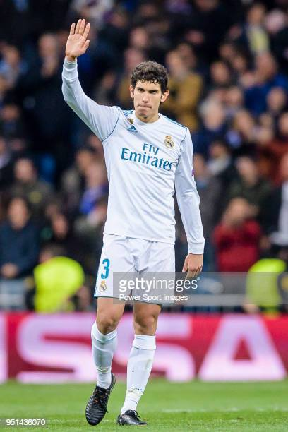 Jesus Vallejo Lazaro of Real Madrid celebrates his side going through to the SemiFinals of the UEFA Champions League after the UEFA Champions League...