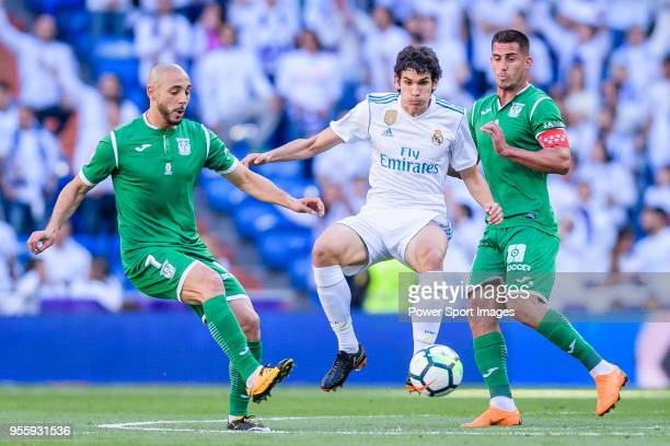 Jesus Vallejo Lazaro of Real Madrid fights for the ball with Nourredine Amrabat of CD Leganes and Gabriel Appelt Pires of CD Leganes during the La...