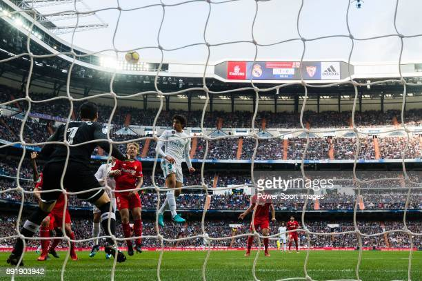 Jesus Vallejo Lazaro of Real Madrid in action during the La Liga 201718 match between Real Madrid and Sevilla FC at Santiago Bernabeu Stadium on 09...