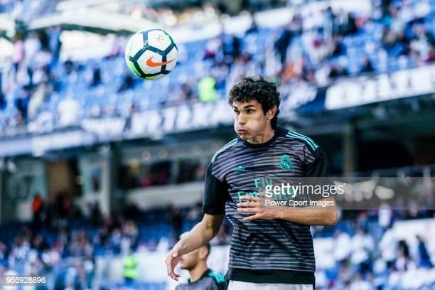 Jesus Vallejo Lazaro of Real Madrid in training prior to the La Liga 201718 match between Real Madrid and CD Leganes at Estadio Santiago Bernabeu on...