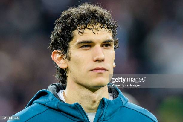 Jesus Vallejo Lazaro of Real Madrid prior to the UEFA Champions League 201718 quarterfinals match between Real Madrid and Juventus at Estadio...