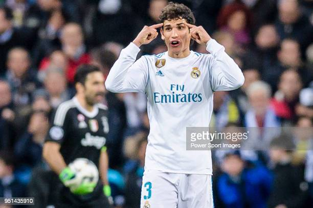 Jesus Vallejo Lazaro of Real Madrid reacts during the UEFA Champions League 201718 quarterfinals match between Real Madrid and Juventus at Estadio...