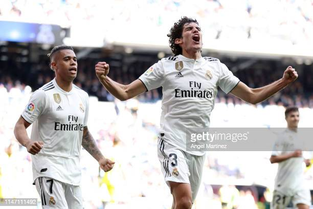 Jesus Vallejo of Real Madrid celebrates as scores his team's second goal during the La Liga match between Real Madrid CF and Villarreal CF at Estadio...