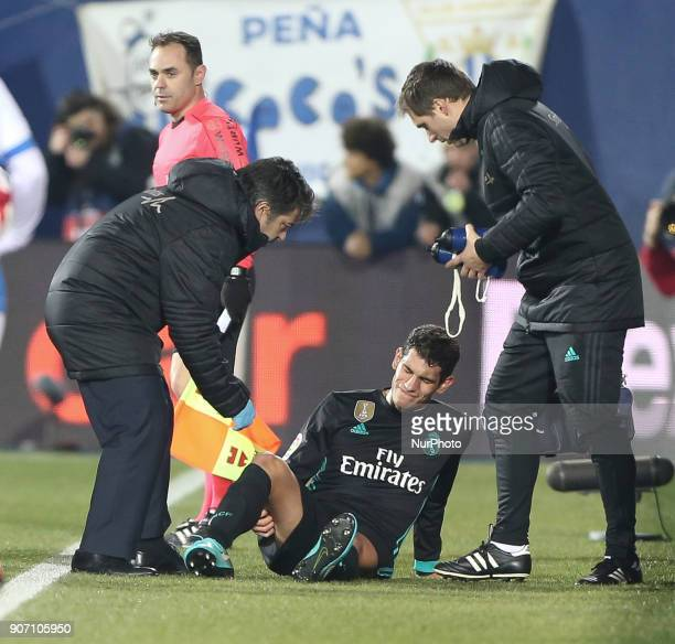 Jesus Vallejo of Real Madrid comes off injured during the Spanish Copa del Rey Quarter Final First Leg match between Leganes and Real Madrid at...