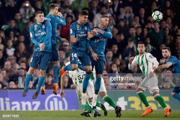 Jesus Vallejo of Real Madrid Cristiano Ronaldo of Real Madrid Casemiro of Real Madrid Sergio Ramos of Real Madrid during the La Liga Santander match...