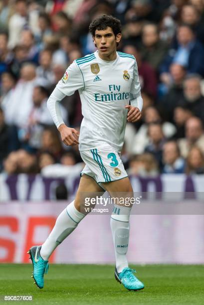 Jesus Vallejo of Real Madrid during the La Liga Santander match between Real Madrid CF and Sevilla FC on December 09 2017 at the Santiago Bernabeu...