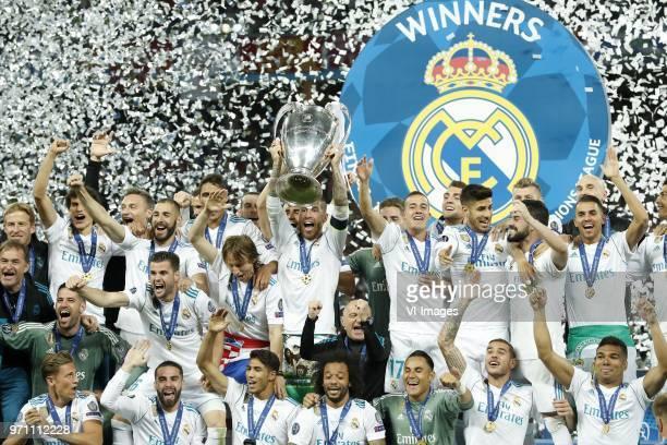 Jesus Vallejo of Real Madrid goalkeeper Kiko Casilla of Real Madrid Marcos Llorente of Real Madrid Karim Benzema of Real Madrid Nacho of Real Madrid...