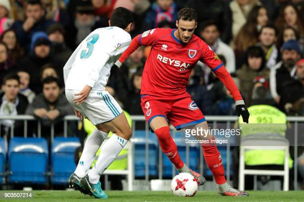 Jesus Vallejo of Real Madrid Higinio Marin of Numancia during the Spanish Copa del Rey match between Real Madrid v Numancia on January 10 2018