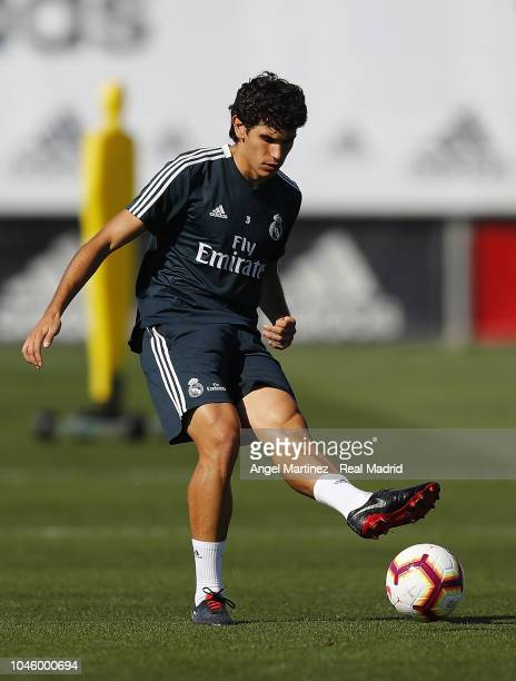 Jesus Vallejo of Real Madrid in action during a training session at Valdebebas training ground on October 5 2018 in Madrid Spain