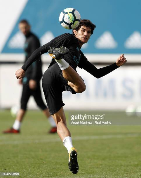 Jesus Vallejo of Real Madrid in action during a training session at Valdebebas training ground on October 21 2017 in Madrid Spain