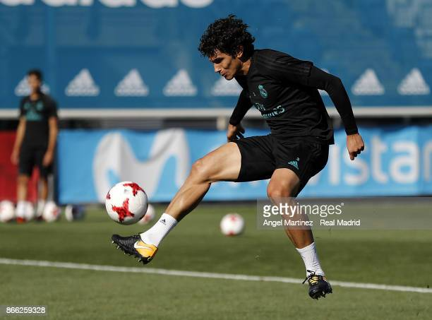 Jesus Vallejo of Real Madrid in action during a training session at Valdebebas training ground on October 25 2017 in Madrid Spain