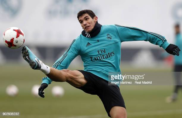 Jesus Vallejo of Real Madrid in action during a training session at Valdebebas training ground on January 9 2018 in Madrid Spain