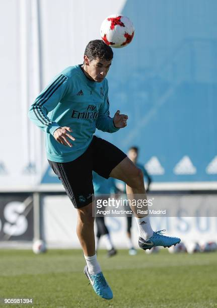 Jesus Vallejo of Real Madrid in action during a training session at Valdebebas training ground on January 17 2018 in Madrid Spain