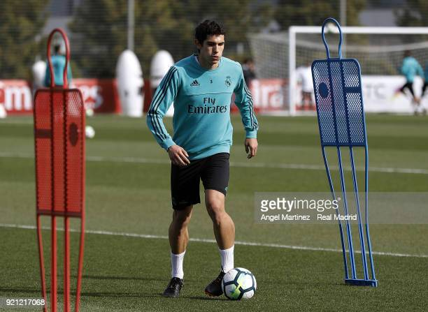 Jesus Vallejo of Real Madrid in action during a training session at Valdebebas training ground on February 20 2018 in Madrid Spain