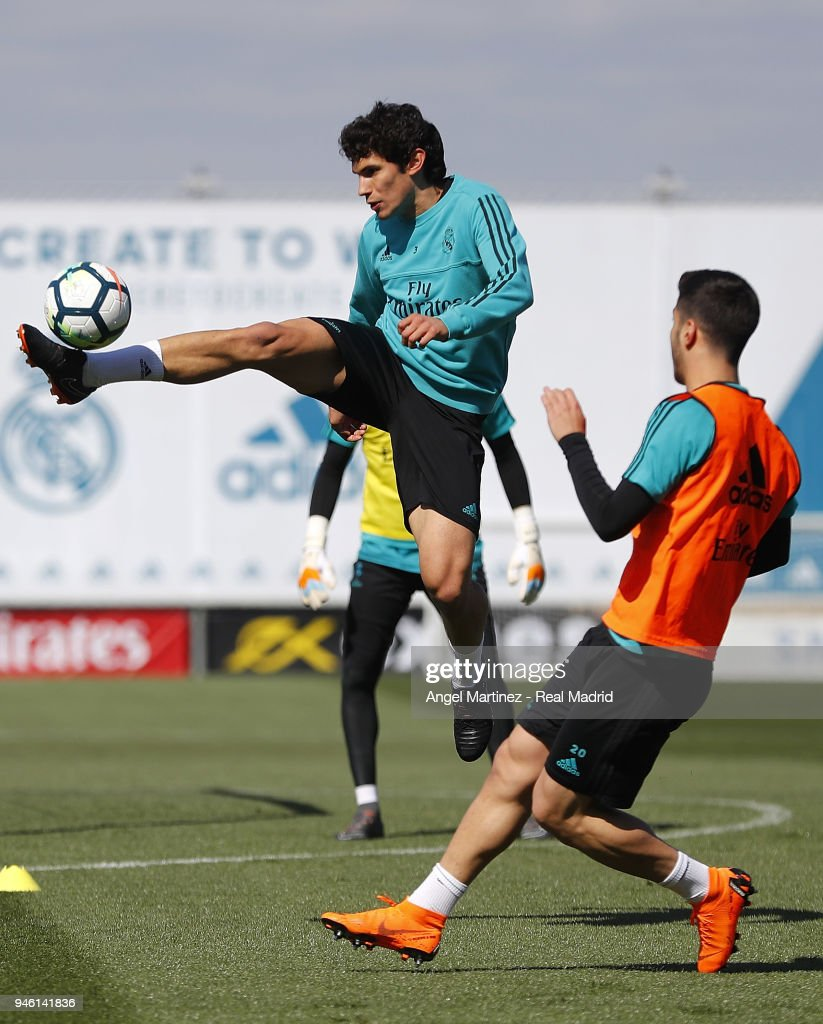Jesus Vallejo of Real Madrid in action during a training session at Valdebebas training ground on April 14, 2018 in Madrid, Spain.