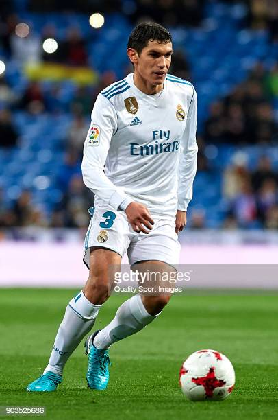 Jesus Vallejo of Real Madrid in action during the Copa del Rey Round of 16 second Leg match between Real Madrid and Numancia at Bernabeu on January...