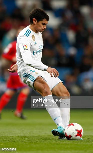 Jesus Vallejo of Real Madrid in action during the Copa del Rey round of 16 second leg match between Real Madrid CF and Numancia at Estadio Santiago...