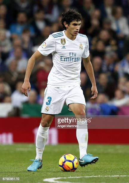 Jesus Vallejo of Real Madrid in action during the La Liga match between Real Madrid and Malaga at Estadio Santiago Bernabeu on November 25 2017 in...