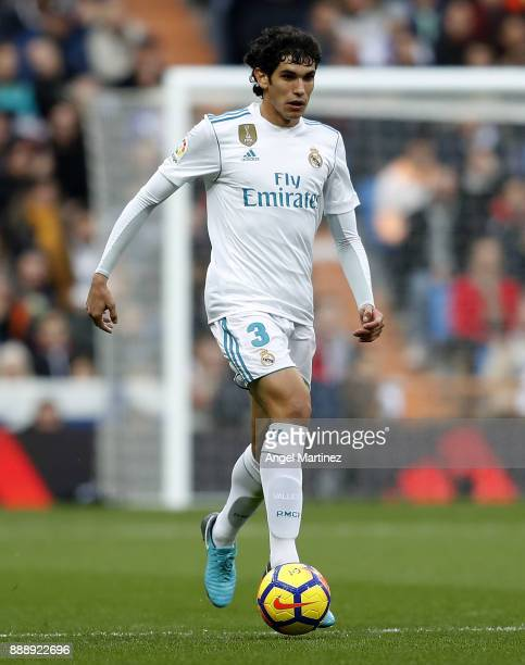Jesus Vallejo of Real Madrid in action during the La Liga match between Real Madrid and Sevilla at Estadio Santiago Bernabeu on December 9 2017 in...