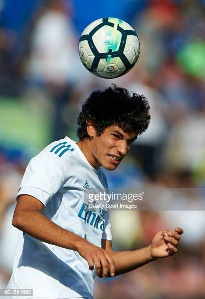 Jesus Vallejo of Real Madrid in action during the warm up prior the La Liga match between Getafe and Real Madrid at Estadio Coliseum Alfonso Perez on...