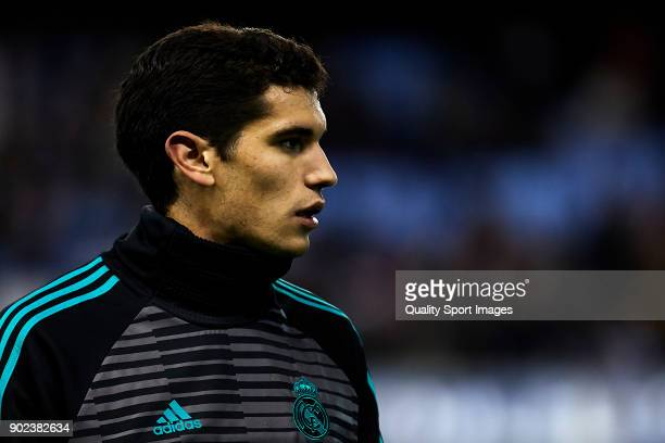 Jesus Vallejo of Real Madrid looks on prior to the La Liga match between Celta de Vigo and Real Madrid at Estadio de Balaidos on January 7 2018 in...
