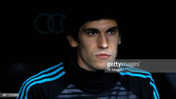 Jesus Vallejo of Real Madrid looks on prior to the La Liga match between Real Madrid and Athletic Club at Estadio Santiago Bernabeu on April 18 2018...