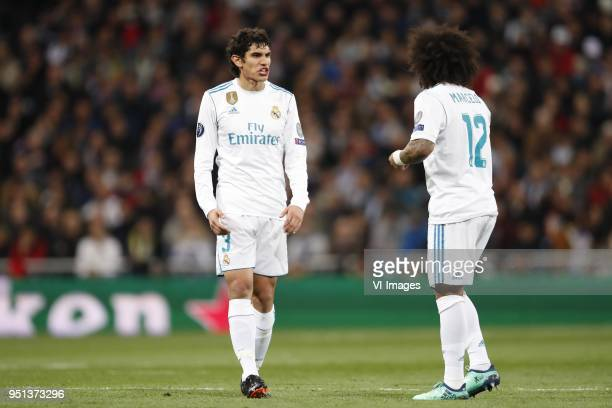 Jesus Vallejo of Real Madrid Marcelo of Real Madrid during the UEFA Champions League quarter final match between Real Madrid and Juventus FC at the...