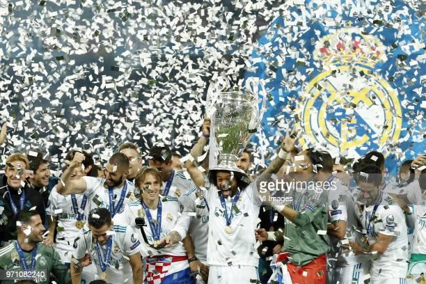 Jesus Vallejo of Real Madrid Nacho of Real Madrid Karim Benzema of Real Madrid Luka Modric of Real Madrid Marcelo of Real Madrid with UEFA Champions...