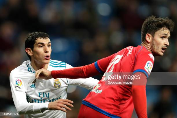 Jesus Vallejo of Real Madrid Unai Elgezabel of Numancia during the Spanish Copa del Rey match between Real Madrid v Numancia on January 10 2018