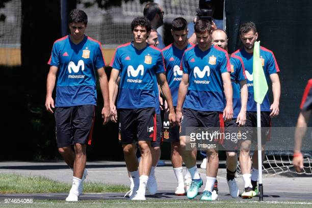 Jesus Vallejo of Spain and Rodri of Spain look on during a training session on June 12 2018 in Krasnodar Russia