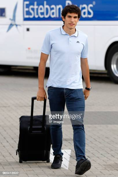 Jesus Vallejo of Spain arrives prior to a training session on May 28 2018 in Madrid Spain