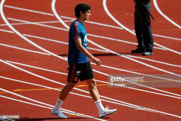 Jesus Vallejo of Spain looks on during a training session on May 31 2018 in Madrid Spain