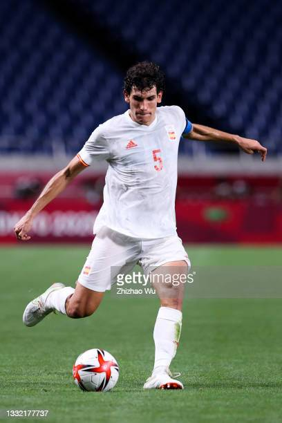 Jesus Vallejo of Spain pass the ball during the Olympic football semifinal between Japan and Spain on day eleven during the Tokyo 2020 Olympic Games...