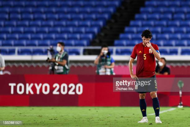 Jesus Vallejo of Spain show his dejection after the Men's Gold Medal Match between Brazil and Spain on day fifteen of the Tokyo 2020 Olympic Games at...
