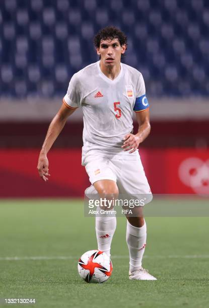 Jesus Vallejo of Team Spain in action during the Men's Football Semi-final match between Japan and Spain on day eleven of the Tokyo 2020 Olympic...