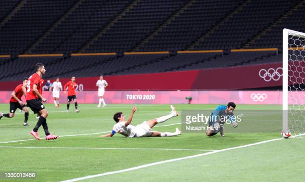 Jesus Vallejo of Team Spain misses a chance during the Men's First Round Group C match between Egypt and Spain during the Tokyo 2020 Olympic Games at...