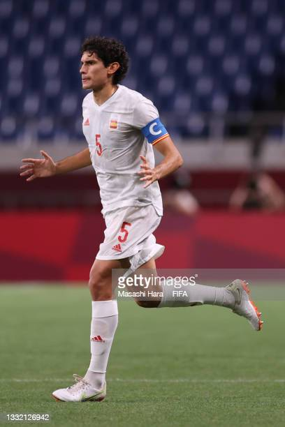 Jesus Vallejo of Team Spain takes to the field for the second half during the Men's Football Semi-final match between Japan and Spain on day eleven...