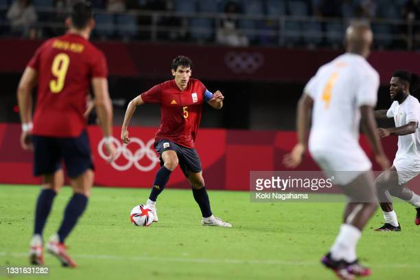 Jesus Vallejo of Team Spainy in action during the Men's Quarter Final match between Spain and Cote d'Ivoire on day eight of the Tokyo 2020 Olympic...
