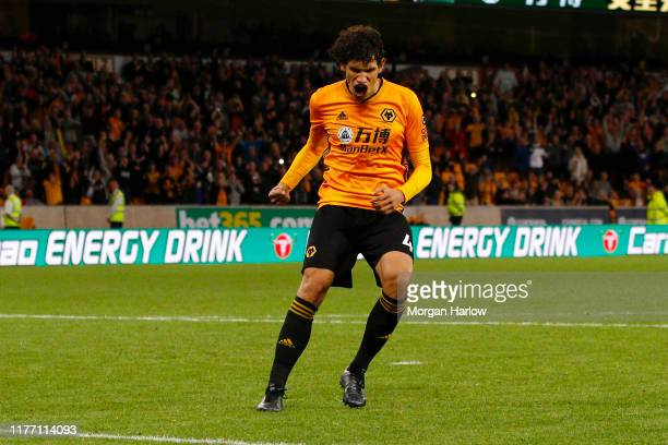 Jesus Vallejo of Wolverhampton Wanderers celebrates after winning his penalty during the Carabao Cup Third Round match between Wolverhampton...