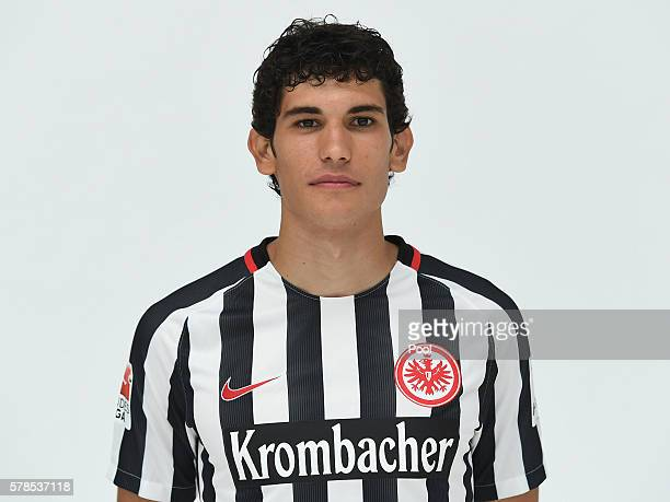 Jesus Vallejo poses during the Eintracht Frankfurt Team Presentation on July 21 2016 in Frankfurt am Main Germany